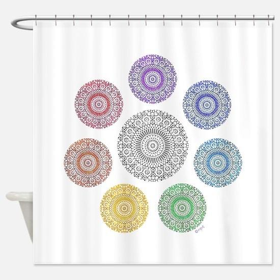 seven chakra circle Shower Curtain