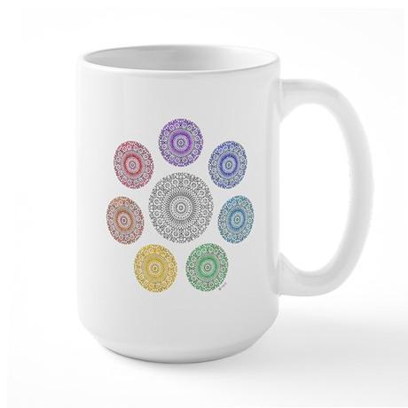 seven chakra circle Large Mug