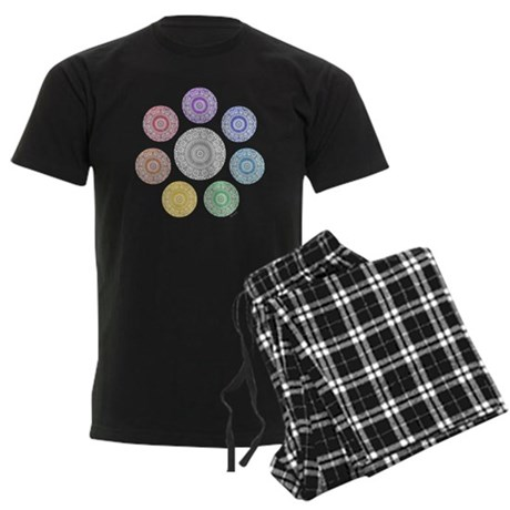 seven chakra circle Men's Dark Pajamas