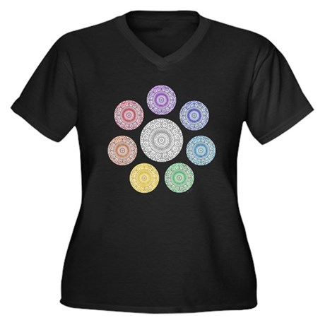 seven chakra circle Women's Plus Size V-Neck Dark