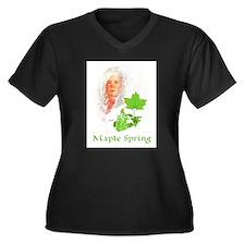 Maple Spring Women's Plus Size V-Neck Dark T-Shirt