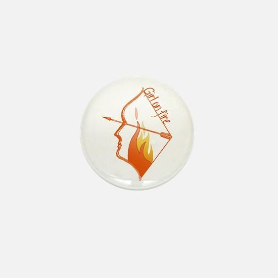 Girl on Fire Mini Button
