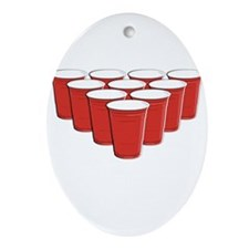 Beer Pong Ornament (Oval)
