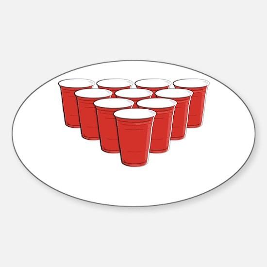 Beer Pong Sticker (Oval)