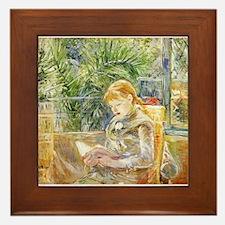 Girl Reading Framed Tile
