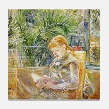 Girl Reading Tile Coaster