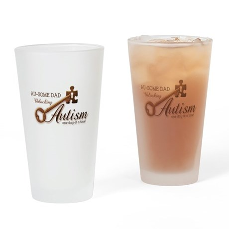 Au-some Dad Unlocking Autism Drinking Glass