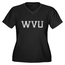 WVU, Vintage, Women's Plus Size V-Neck Dark T-Shir