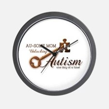 Au-some Mom Unlocking Autism Wall Clock