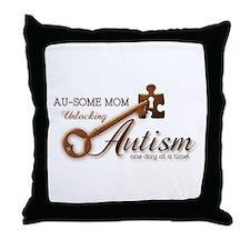 Au-some Mom Unlocking Autism Throw Pillow