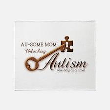 Au-some Mom Unlocking Autism Throw Blanket