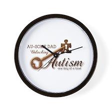 Au-some Dad Unlocking Autism Wall Clock