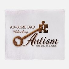 Au-some Dad Unlocking Autism Throw Blanket