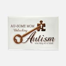 Au-some Mom Unlocking Autism Rectangle Magnet