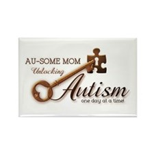 Au-some Mom Unlocking Autism Rectangle Magnet (10