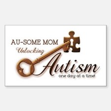 Au-some Mom Unlocking Autism Sticker (Rectangle)