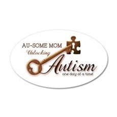 Au-some Mom Unlocking Autism 22x14 Oval Wall Peel