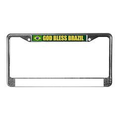 God Bless Brazil License Plate Frame