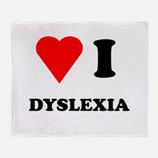 Love I Dyslexia Throw Blanket