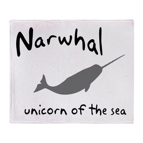 Narwhal Unicorn of the Sea Throw Blanket