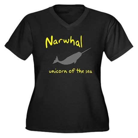Narwhal Unicorn of the Sea Women's Plus Size V-Nec