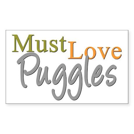 MUST LOVE Puggles Sticker (Rectangle)