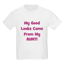Good Looks From Aunt - Pink Kids T-Shirt