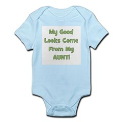 Good Looks From Aunt - Green Infant Creeper