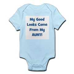 Good Looks From Aunt - Blue Infant Creeper