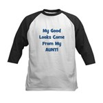 Good Looks From Aunt - Blue Kids Baseball Jersey