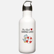Chick Loves Saving Lives Water Bottle