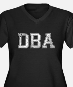 DBA, Vintage, Women's Plus Size V-Neck Dark T-Shir