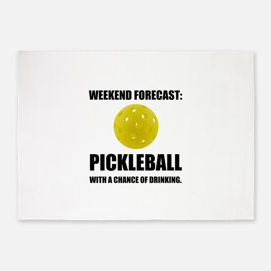 Weekend Forecast Pickleball Drinking 5'x7'Area Rug