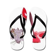 Red Stiletto Shoes and Lilies Flip Flops