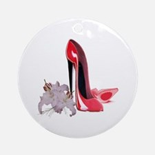 Red Stiletto Shoes and Lilies Ornament (Round)