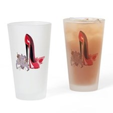 Red Stiletto Shoes and Lilies Drinking Glass