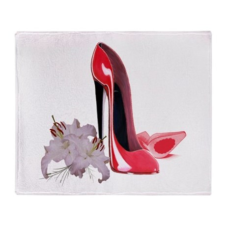 Red Stiletto Shoes and Lilies Throw Blanket