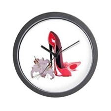 Red Stiletto Shoes and Lilies Wall Clock