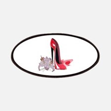 Red Stiletto Shoes and Lilies Patches