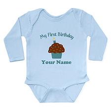 1stbdayboycup Long Sleeve Infant Bodysuit
