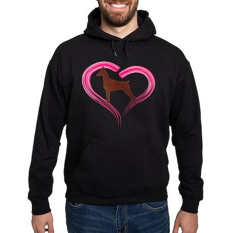 Heart My Red Doberman Hoodie (dark)