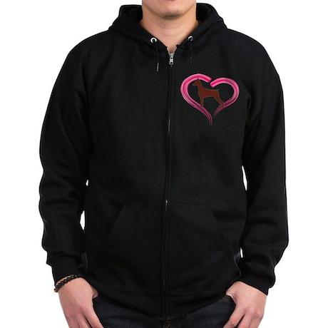 Heart My Red Doberman Zip Hoodie (dark)