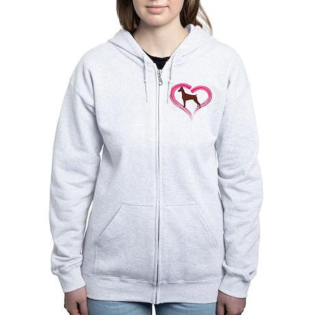 Heart My Red Doberman Women's Zip Hoodie
