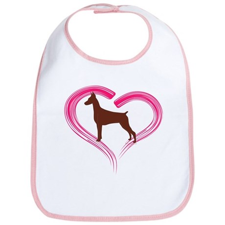 Heart My Red Doberman Bib