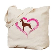 Heart My Red Doberman Tote Bag