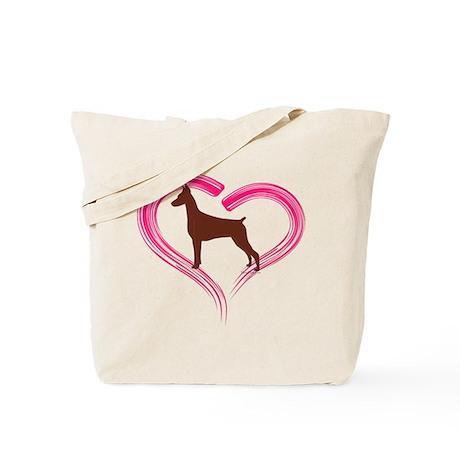 Heart My Red Doberman Tote Bag