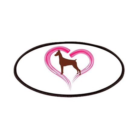 Heart My Red Doberman Patches