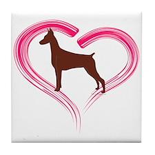 Heart My Red Doberman Tile Coaster