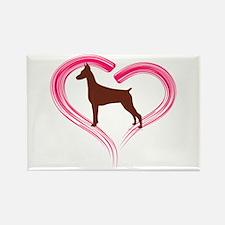 Heart My Red Doberman Rectangle Magnet