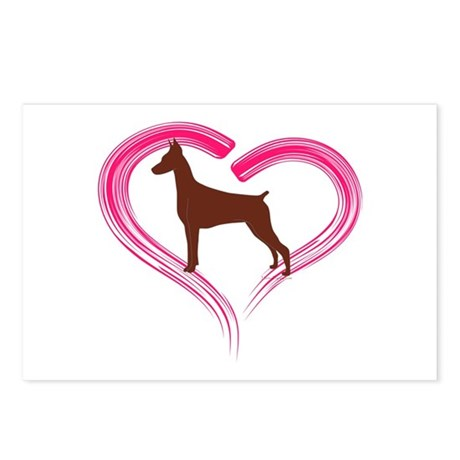 Heart My Red Doberman Postcards (Package of 8)